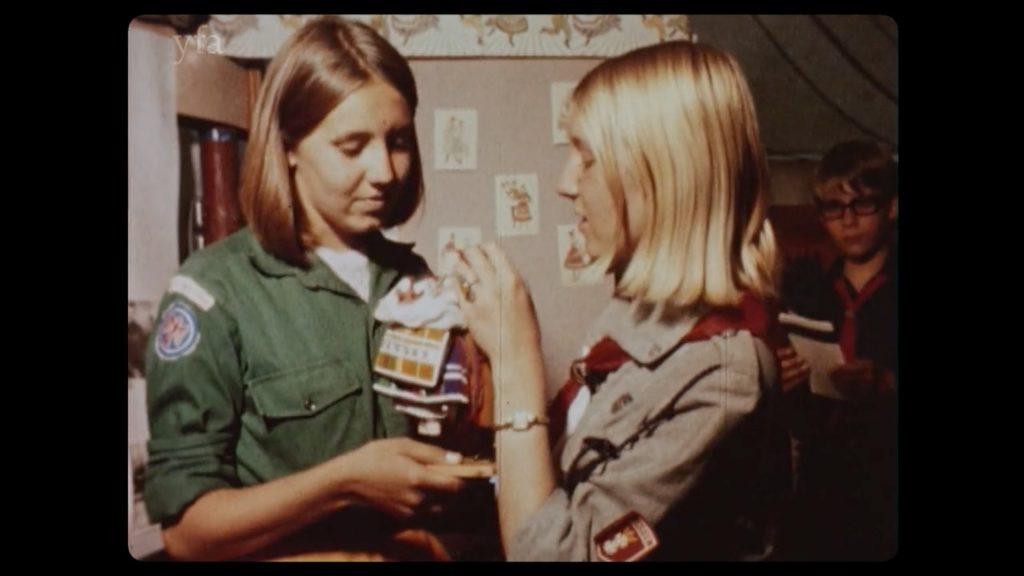 Two Woodcraft Folk girls in uniforms